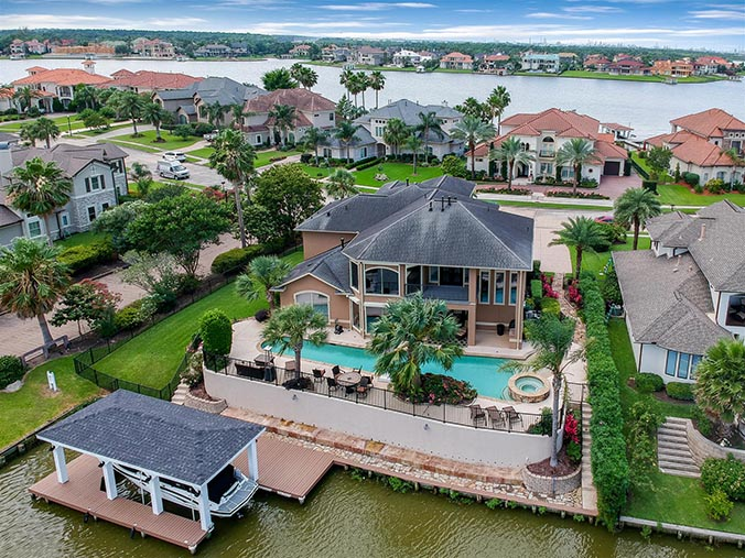 aerial photography for Freeport, TX waterfront property